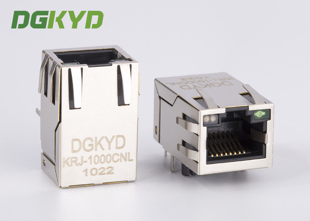 China Factory price 25.4mm length Single port gigabit Ethernet RJ45 connector with LED factory