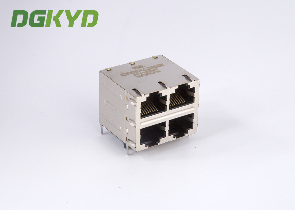 China RJ45 Multiple Port Connectors Stack MJ ASSY 8POS 2X2 CAT6 with magnetics factory