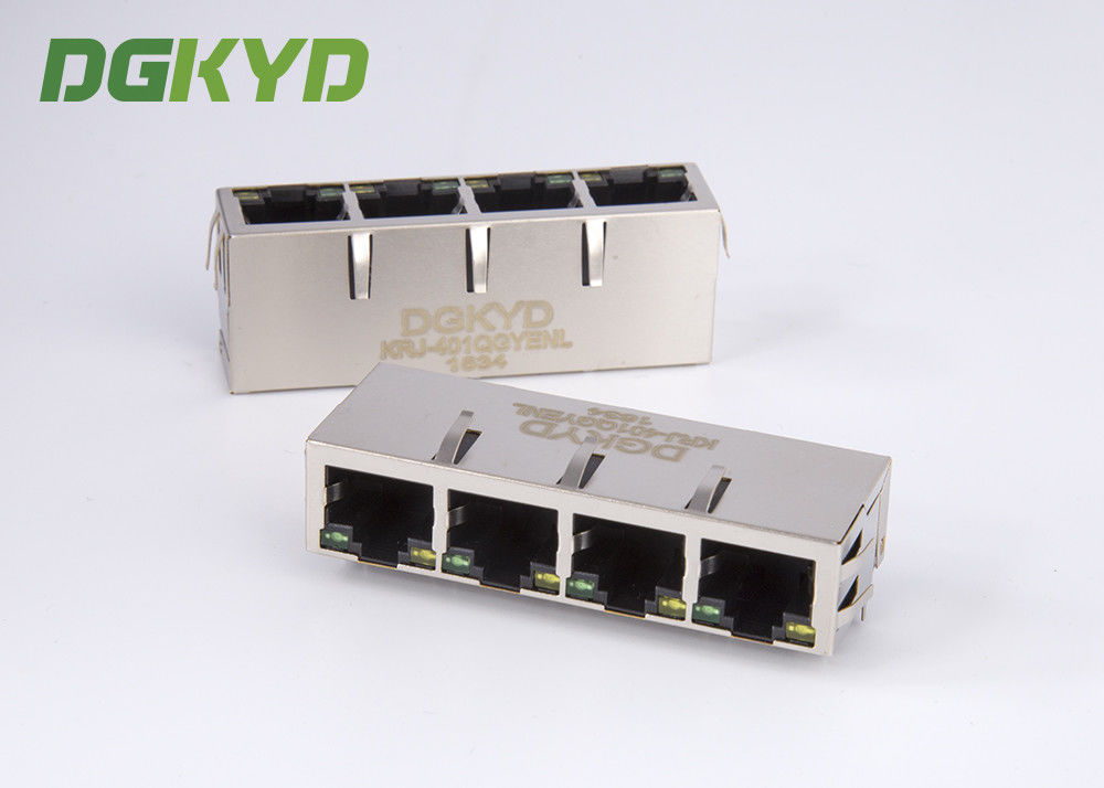 China 1000 megabit 1 X 4 multi Port Female RJ45 Connector with transformer for ethernet switch factory