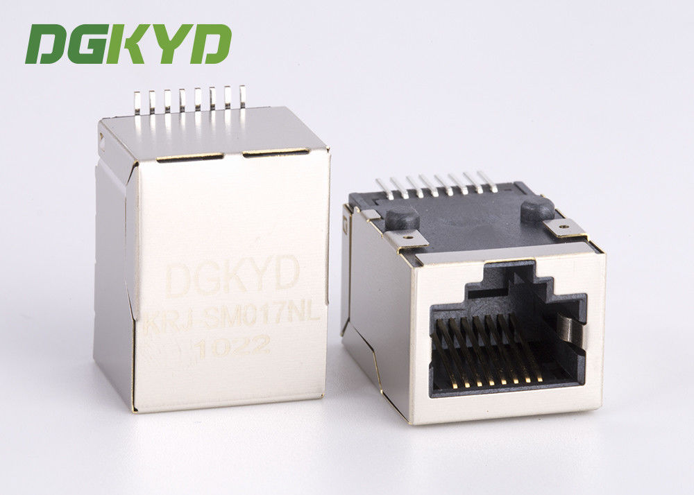 China Shielded cat5 network jack, Low profile SMT rj45 connector with internal transformer factory