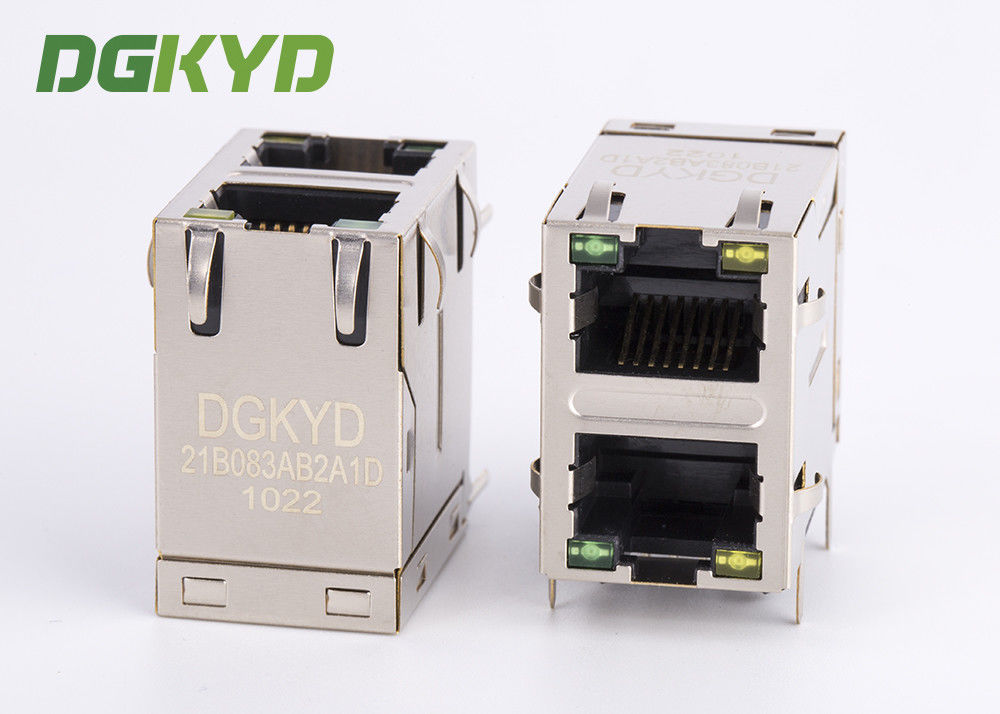 10/100 BASE 2x1 offset magnetic Network Connector, stacked rj45 modular jack supplier