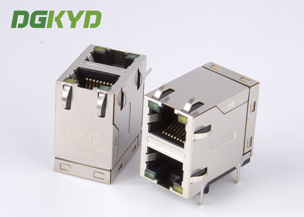 China Stack two port 10 Pin 1000 BASE RJ45 Jack Female Ethernet Connector with LED EMI factory