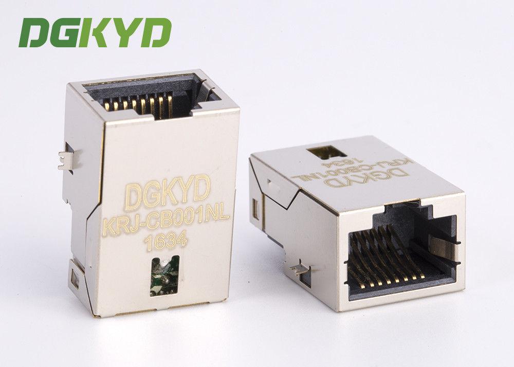 PCB Mount shielded low profile single port RJ45 Ethernet ... on