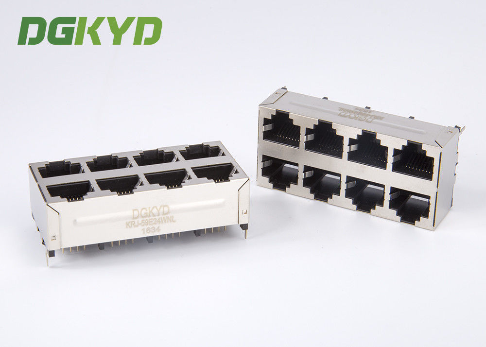 China Vertical Rj45 Jack 2X4 Top Entry E6588-A59124-L Rj45 Connector Without Magnetics factory