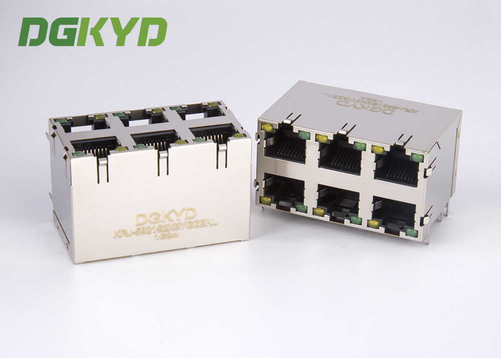 China KRJ -5921S2X3YGZENL Power Over Ethernet Rj45 Connector Metal Shielded stack 2X3 G/Y LED factory