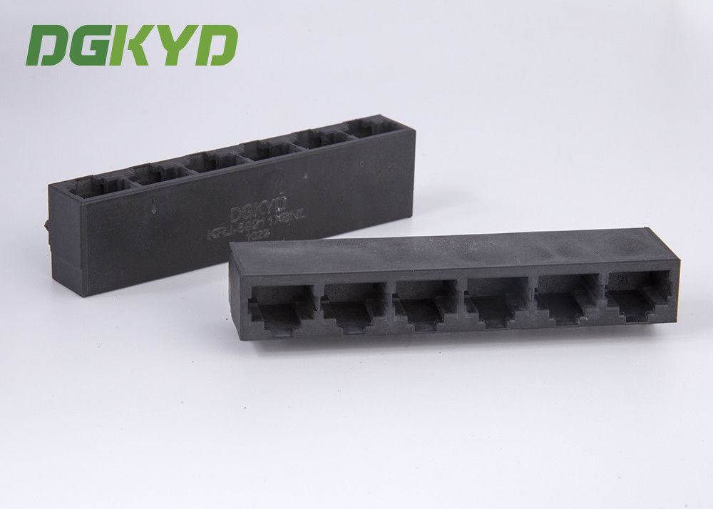 Factory price black plastic housing 6 port rj45 connector without transformer supplier