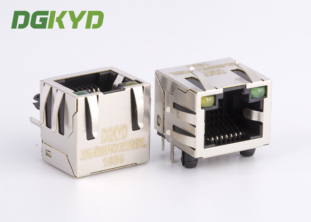 China KRJ - 56S8P8C1X1YGENL Metal Shielded Rj45 Jack Connector Without Transformer factory