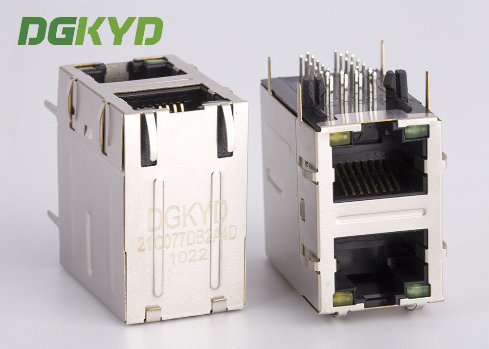 Dual deck 2 Port RJ45 Multiple Port Connectors with 1000base Transformer OEM ODM supplier