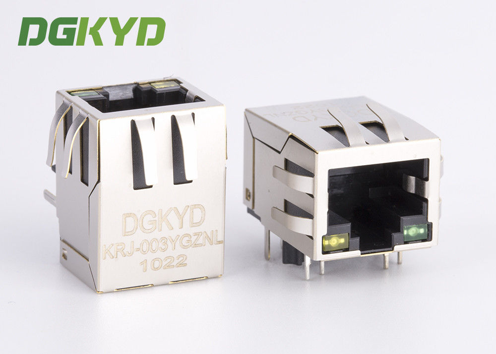China KRJ-003YGZNL shielded cat5 rj45 ethernet connector with transformer Y/G LED factory