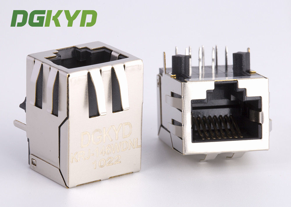 China Right Angle 10 / 100 BASE RJ45 modular Jack with transformer Ethernet Cable Connector factory