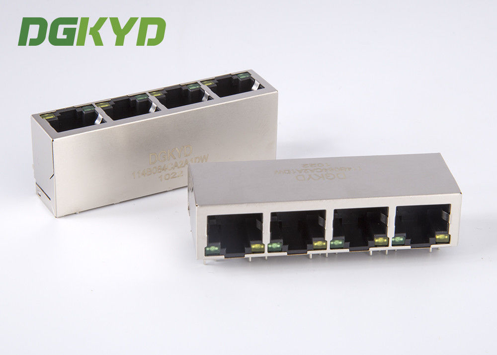 China 10/100BASE EMI network modular Jack rj45 with integrated magnetics 1 x 4 Port factory