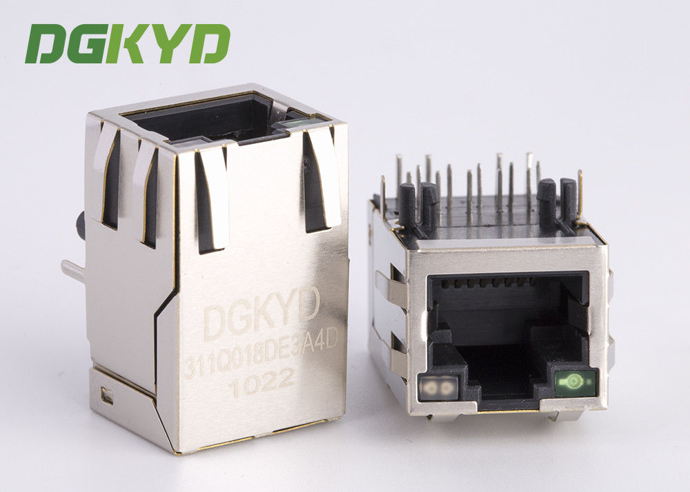 China Shielded Gigabit ehternet RJ45 PCB Connector with Transformer RJ45 Network socket factory