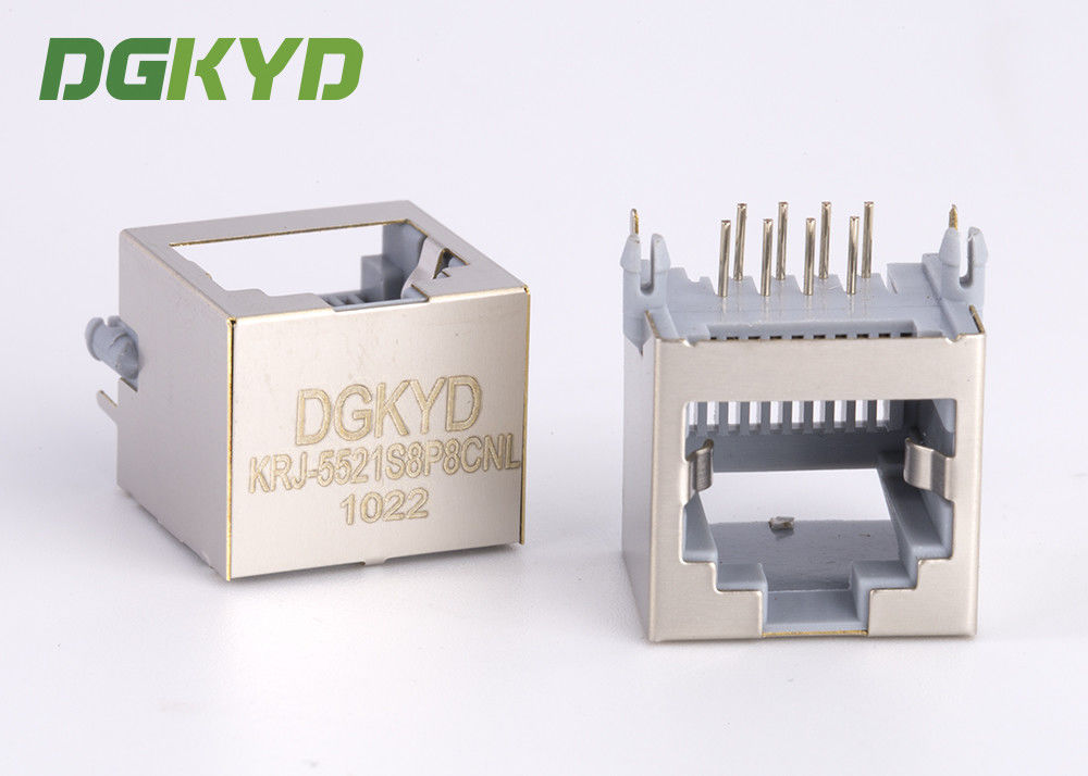 China 15mm Height PBT Gray 8p8c Pcb Mount Low Profile Rj45 Keystone Jack Without Transformer factory