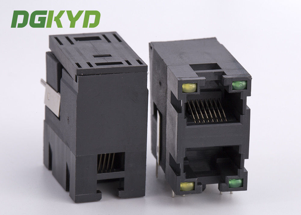 Unshielded 2x1 stack double port RJ45 Connector without transformer ...