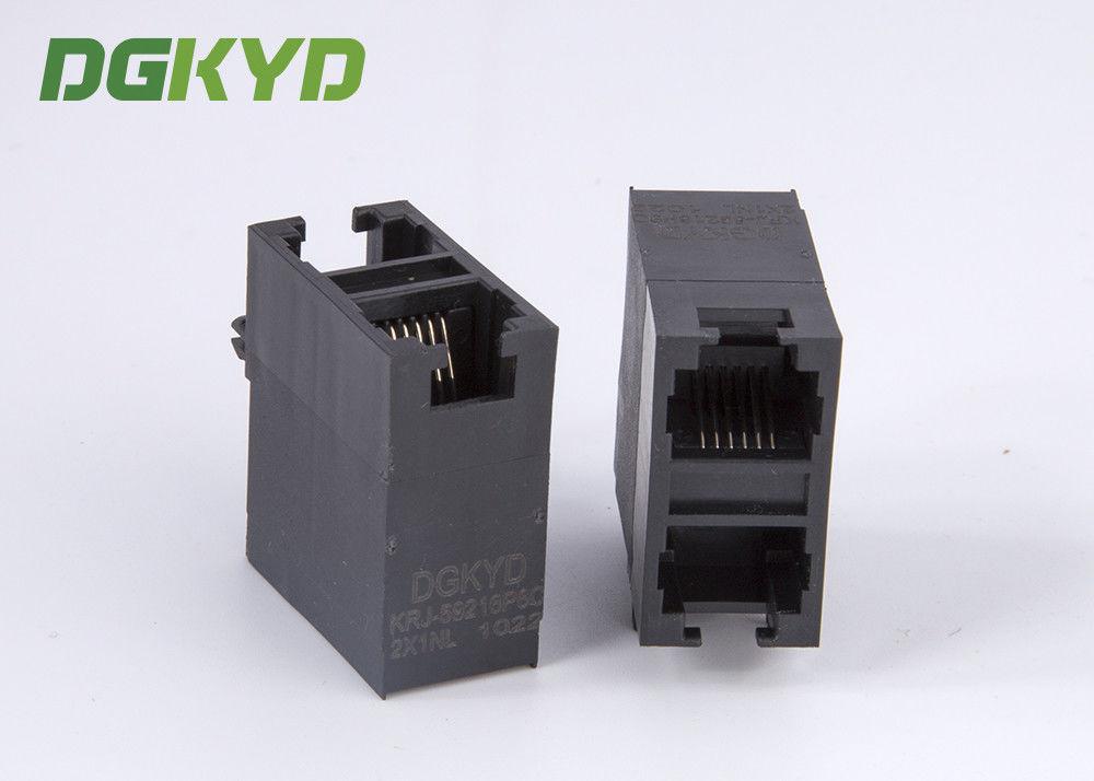 RJ12 6P6C Dual Ports Side Entry Modular Network Jack Connector 10 Pcs