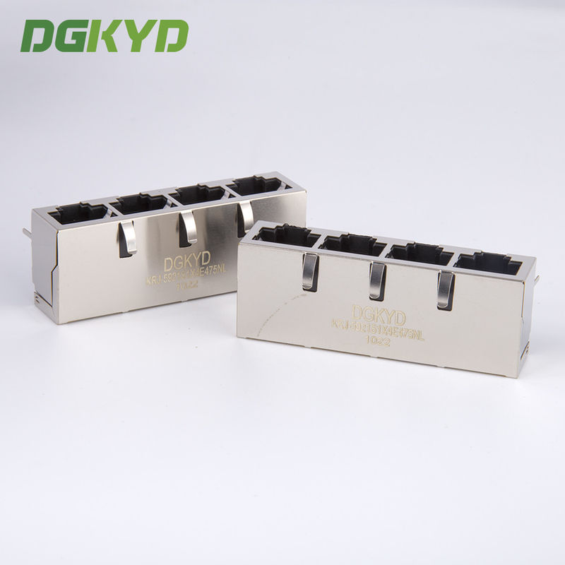 China 1x4 Multiple Port RJ45 Modular Jack quad ports connector combo for lan switch factory