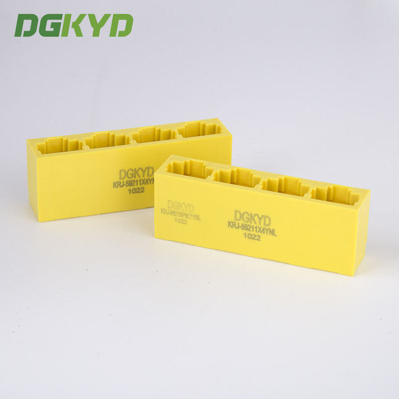 China 1x4 tap down yellow multi port RJ45 connector 8p8c ethernet jack without transformer factory