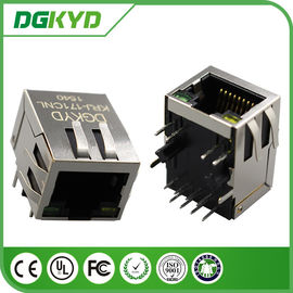 China Right Angle 10 / 100 BASE RJ45 Modular Jack with transformer, Ethernet Cable Connector distributor
