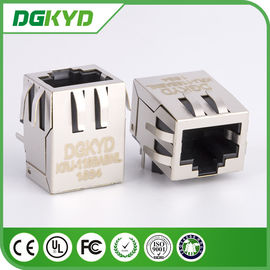 China 90 Degree shielded 1000base RJ45 Jack Single Port with EMI Fingers Filter Tab Down distributor