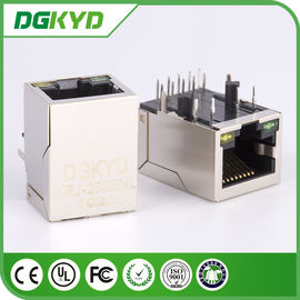 China Right Angle CAT5e RJ45 Ethernet Connector female Jack with Led , Network Filter distributor