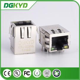 China 90 Degree rj45 connector with magnetics , 10 / 100 / 1000 Megabit ethernet shielded rj45 plug distributor