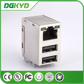 China LED RJ45 USB CONNECTOR TRANSFORMER , RJ45 WITH DOUBLE USB JACK distributor