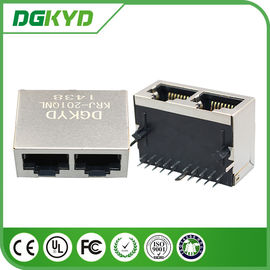 China Metal shielded 2 port Integrated Magnetics RJ45 Female Jack without LED distributor