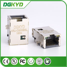China Plate RJ45 PCB Connector , Network Port RJ45 Vertical with Plating distributor
