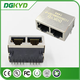 China 100M 1x2 Tab Down RJ45 Modular Jack PCB Connector with POE distributor