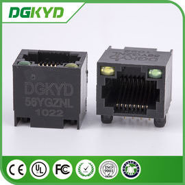 China Unshielded Ethernet Connector Rj45 Single Port With Led , DGKYD-56YGZNL distributor