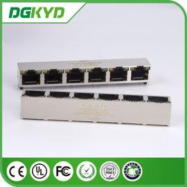 China KRJ -56S8P8C1X6YGNL Shielded 1 X 6 Ports Rj45 Fenale Jack Multi Rj45 With LEDs distributor