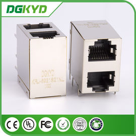 China KRJ -5921S21NL shielded rj45 connector , 8 pin modular jack  2x1 Offset Stack Jack distributor