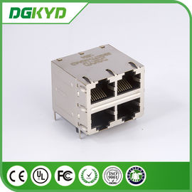 China DGKYD22Q077HWA4D RJ45 Multiple Port Connectors Stack MJ ASSY 8POS 2X2 CAT6 with magnetics distributor