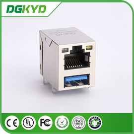 China Modular Jack RJ45 Stacked Over USB Rj45 Connector 3.0 X1F Cat6 W/ LED 1775855-3 distributor