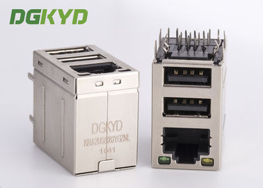 China Stacked RJ45 jack over dual deck USB Connector combo rj45 with 100Mb transformer distributor