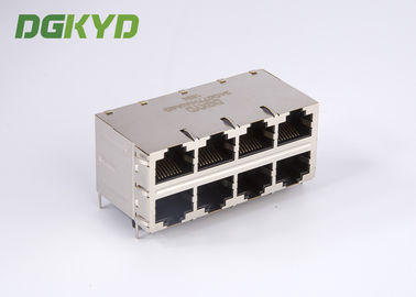 China RJ45 Magnetics 2X4 dual deck 8 port Gigabit Ethernet Rj45 connector 0811-2X4R-28-F RoHS distributor