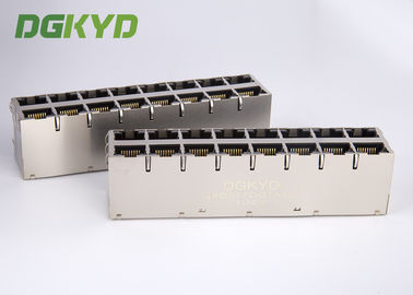 China Cat6 RJ45 Magnetics jack 1000 base T RJ45 Shielded Connector 2x4 dual deck 8 ports distributor