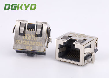 China Sinking board shielded RJ45 Jack Single Port with EMI Fingers , low profile distributor