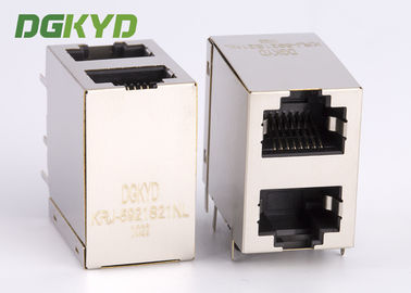 China KRJ -5921S21NL shielded rj45 connector 8 pin modular jack 2x1 Offset Stack Jack distributor