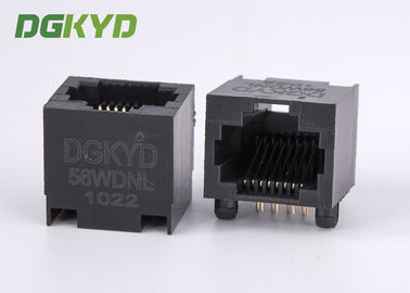 China DGKYD-56WDNL 100 Base T Right Angle Rj45 Single Port jack black plastic housing distributor