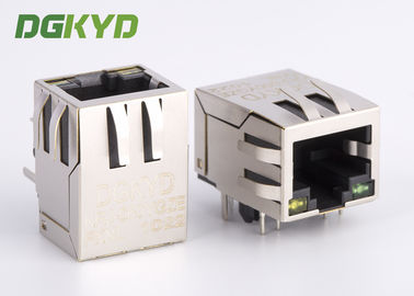 China Surface mount shielded right angle ethernet rj45 connector 100 BASE - TX Y/G LED distributor