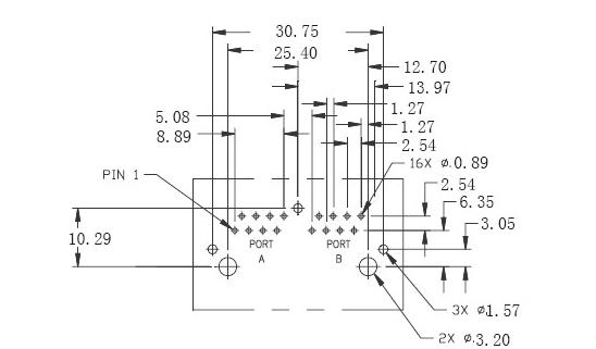pcb moutable rj45 with lan transformer 2 port   custom tab