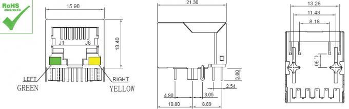 PCB Network RJ45 Modular Jack HR911103A Filter Connectors , LED Tab Down