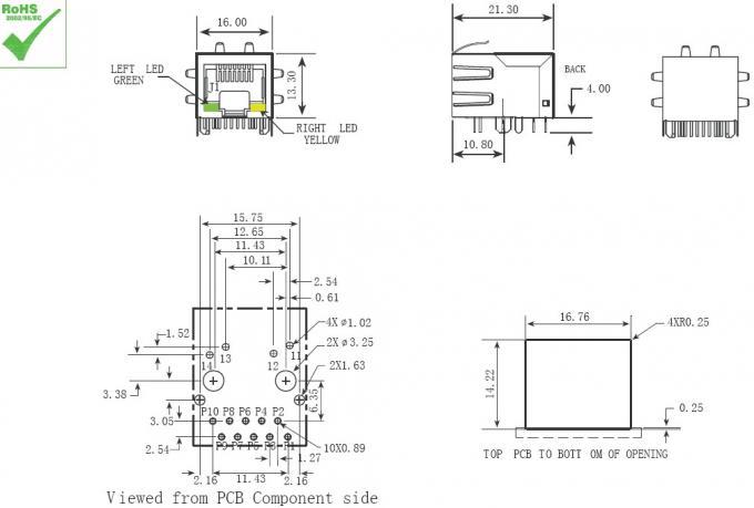 tab down female rj45 ethernet jack    rj45 network port single 21 3mm rohs approve