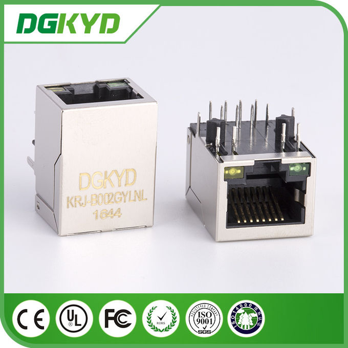 China supplier KRJ-B002GYLNL metal shielded single port cat5 magnetic rj45 connector with LED