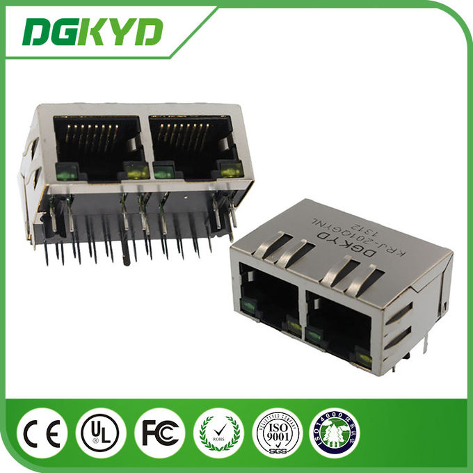 10/100/1000BASE 2 Port RJ45 Jack  Combo 8P8C , 1x2 RJ45 connector with transformer and led
