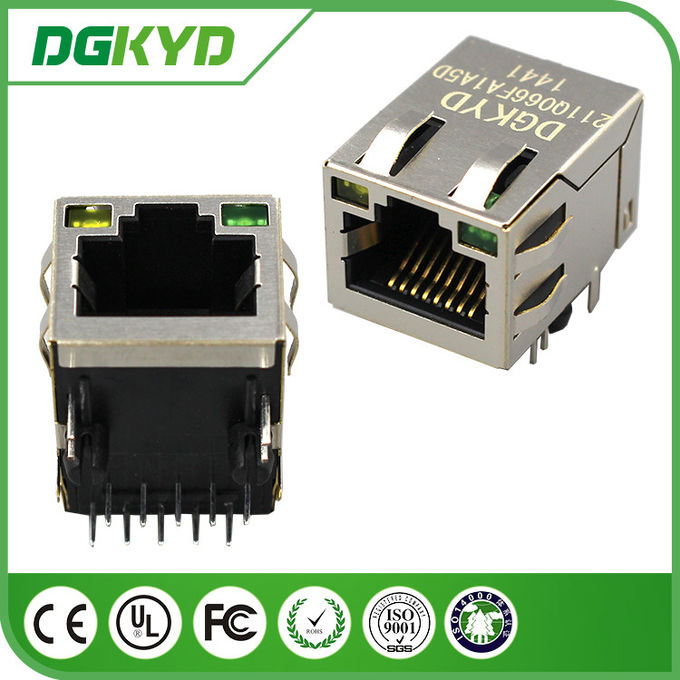 DGKYD211Q066FA1A5 1000M industrial rj45 connector with led , 1 Port