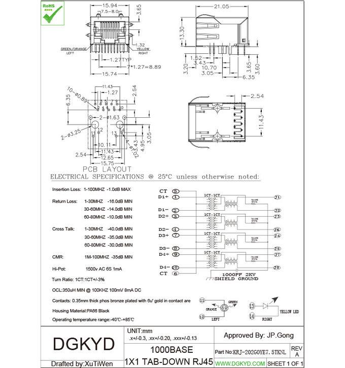 fiber optic transceivers rj45 magnetics connector gigabit